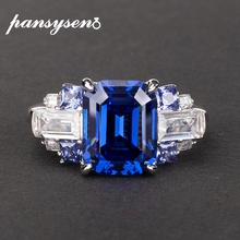 PANSYSEN 100% 925 Sterling Silver created moissanite Sapphire Gemstone Rings For Women Wedding Engagement Ring Fine  Jewelry