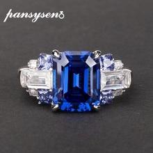 PANSYSEN 100% 925 스털링 실버 여성을위한 moissanite 사파이어 보석 반지 제작 결혼 약혼 반지 파인 쥬얼리