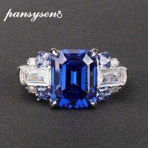 Image 1 - PANSYSEN 100% Bạc 925 Tạo Ra Moissanite Sapphire Đá Quý Cho Nữ, Nhẫn Nữ Cưới Đính Đá Trang Sức Viễn Chí Bảo