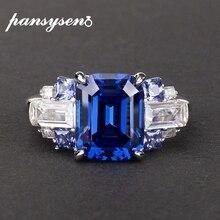 Pansysen 100% 925スターリングシルバー作成モアッサナイトサファイア宝石の指輪女性のための結婚式の婚約指輪ファインジュエリー
