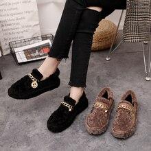 Women Flats Shoes Fur Fashion Ladies Lux