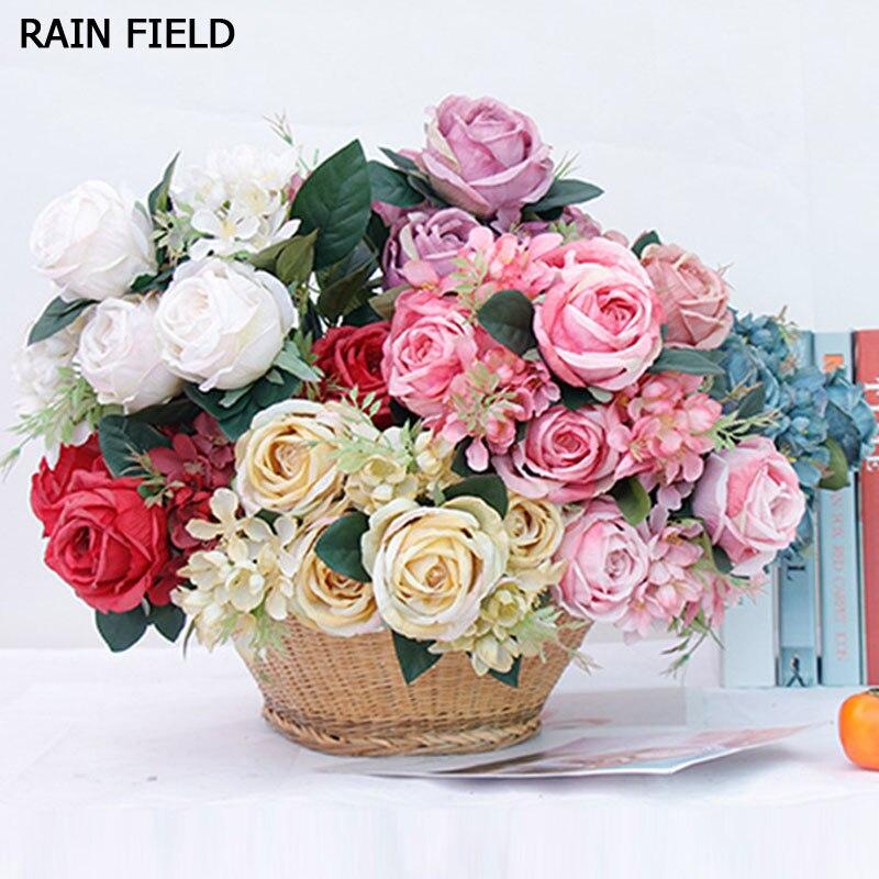 7 Big Head/Bouquet Rose Artificial Flower Silk Bouquet Wedding Home Decoration Craft Gift Bride Flowers Fake
