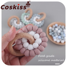 Food Grade Silicone Beads Baby Teether Beech Wood Ring Teething Newborn Bracelet Play Gym Silicone Teether Montessori Baby Toys