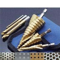6Pcs Stahl Titan Hex Schritt Bohrer Set 4-12/20/32mm Metall Loch Cutter holz Kegel Core Bohren Loch Sah Tool + 3,6,8 sah Bohrer