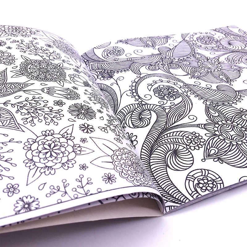 1PCS Nuovo 24 Pagine Mandalas Fiore Libro Da Colorare Per I Bambini di Età Alleviare Lo Stress Kill Time Graffiti Pittura Disegno di Arte libro