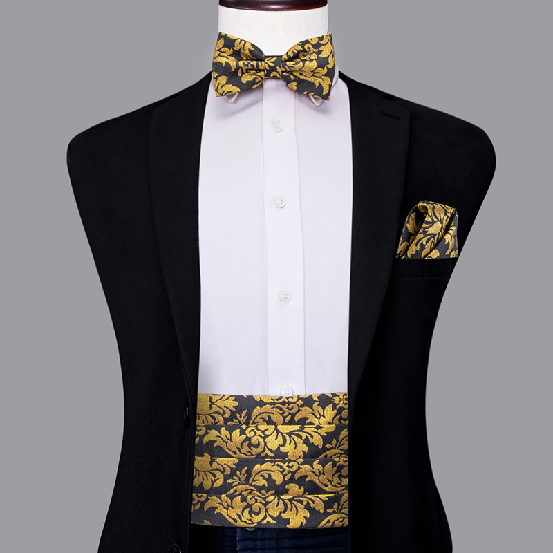 YF-2017 Hi-Tie Luxury Silk Men's Formal Wedding Party Floral Cummerbund Bow Tie Hanky Cufflinks Set Golden Tuxedo Cummerbunds