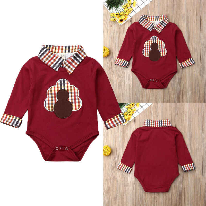 Baby Romper Thanksgiving Turkey Romper Long Sleeve Newborn Infant Baby Boy Girl Cotton Romper Jumpsuit Clothes Outfit Sets