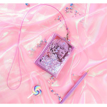 Fashion Hot Sales Transparent Glitter Wallet Card Holder Shiny Coin Purse with Lanyard for Women Girl Outdoor Travel hh88