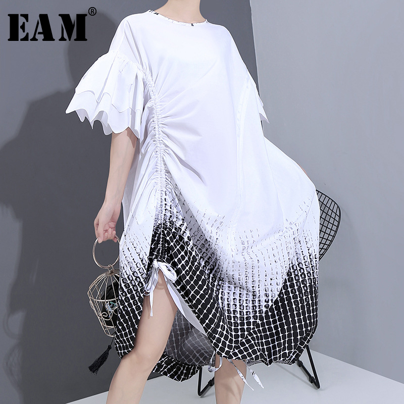 [EAM] Women White Pattern Printed Drawstrng Big Size Dress New Round Neck Half Sleeve Loose Fashion Spring Summer 2020 1T939