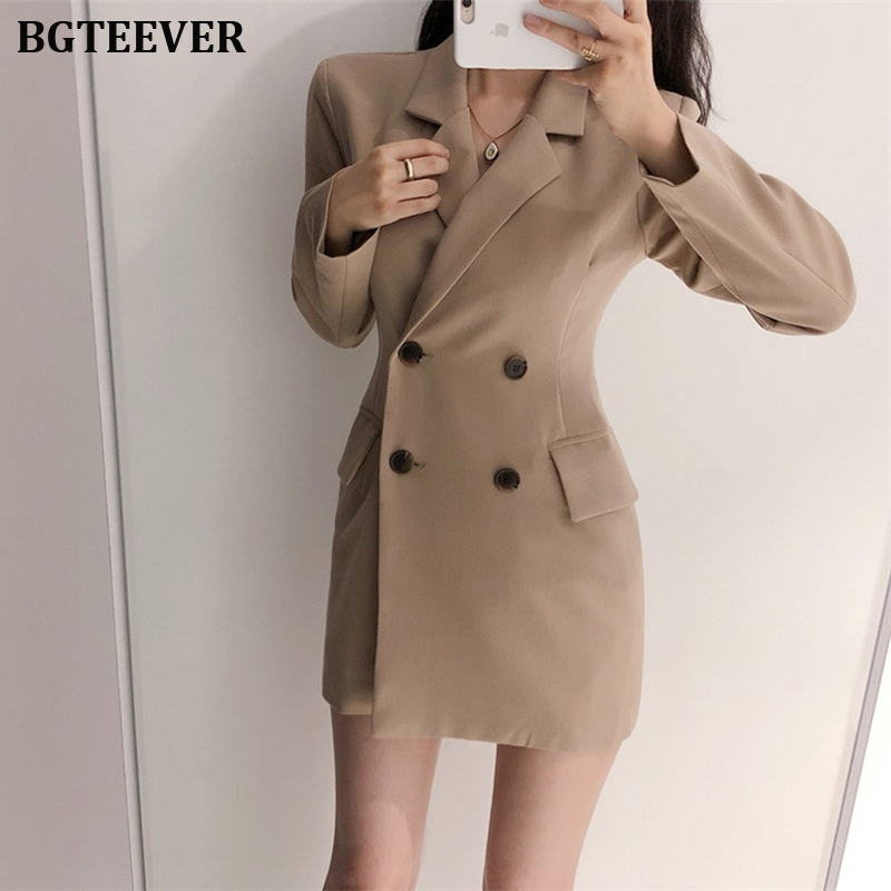 Fashion Double-breasted Women Blazer Coat Slim Notched Collar Female Suit Jacket Hollow-out Work Style Blazer Outerwear 2019