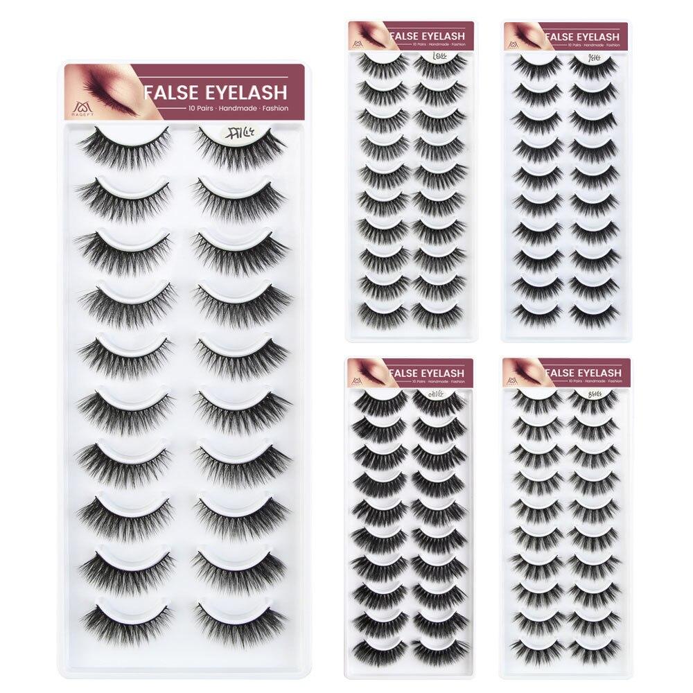 2019 NEW 5/10 Pairs 100% Real Mink Eyelashes 3D Natural Soft False Eyelashes 3d Mink Lashes Eyelash Extension Makeup Kit Cilios