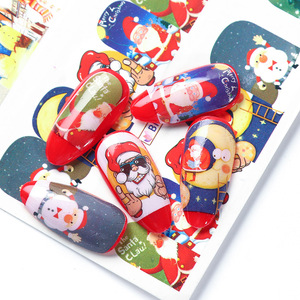 Image 4 - 12pcs Christmas Nail Stickers Santa Claus Elk Snowman Water Transfer Sliders for Nails Cartoon Winter New Year Manicure JIBN/A 1