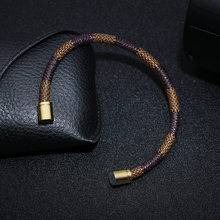 New Fashion Punk Cowhide Leather Men Bracelet Bangles for Women Jewelry Magnetic Snap Charm Bracelet Gift(China)