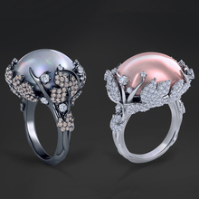 2020 Fashion Oval Pearl Ring Elegant Crystal Zircon Flower Wedding Rings Engagement Jewelry For Women Female Gift D5M626