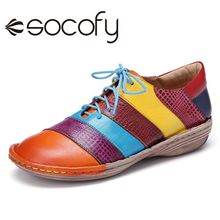 Sneakers Socofy Women Shoes Handmade Retro-Style Lace-Up Casual Stitching Contrast Outdoor
