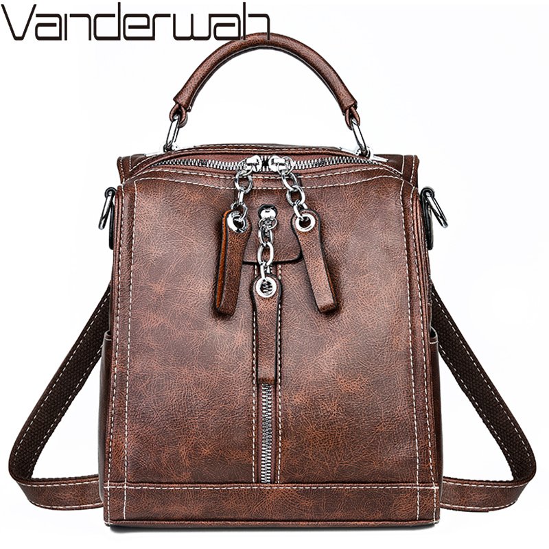 Small Backpack Multi-function Women Backpacks Vintage Leather School Bags For Girls Shoulder Bag Ladies Travel Backpack Mochilas