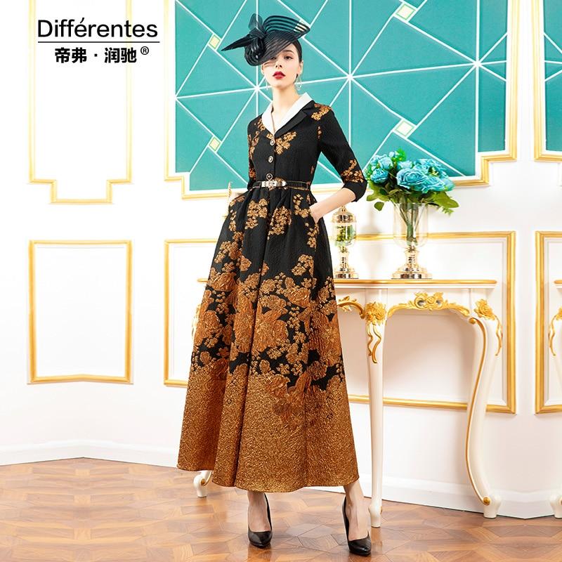 2020 Women Jacquard Runway Long Dress Patchwork Three Quarter Evening Full Length Gorgeous Floral Long Dress DZ2373