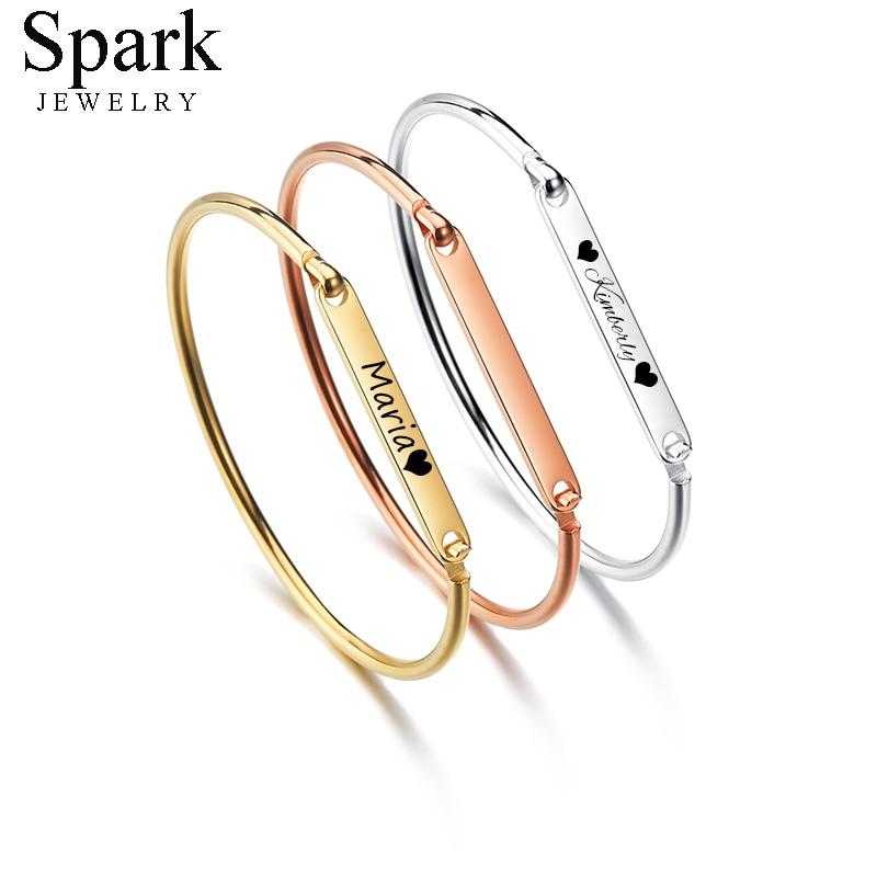Spark Personalized Stainless Steel Custom Bangles Bracelets For Women Engrave Name Date ID Gold Steel Rose Gold Bracelet Gift