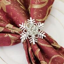6 шт/металлическое кольцо для салфеток со снежинками золотое