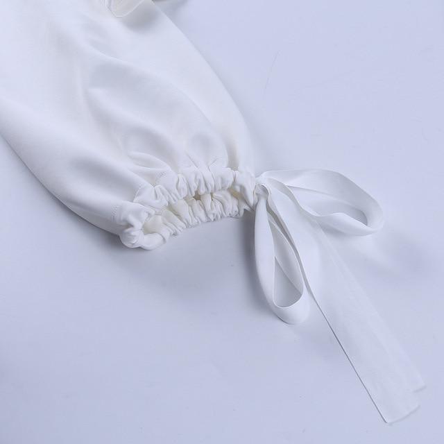 Sexy Off Shoulder Lantern Sleeve Blouse Shirt Women White Elegant Spring Autumn Office Lady Casual Loose Tops Temperament Shirt 5