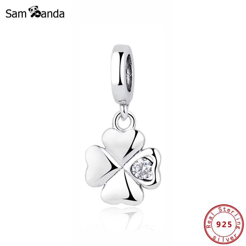 Authentic 100% 925 Sterling Silver Charm Bead Lucky Day Clover Pendant Charms Crystal Fit Pandora Bracelets Women DIY Jewelry(China)