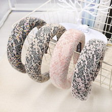 Hair Accessories Sponge Colorful Fabric Women Hairband Thicken Wide Side Autumn Hoop Fashion Korean Headband