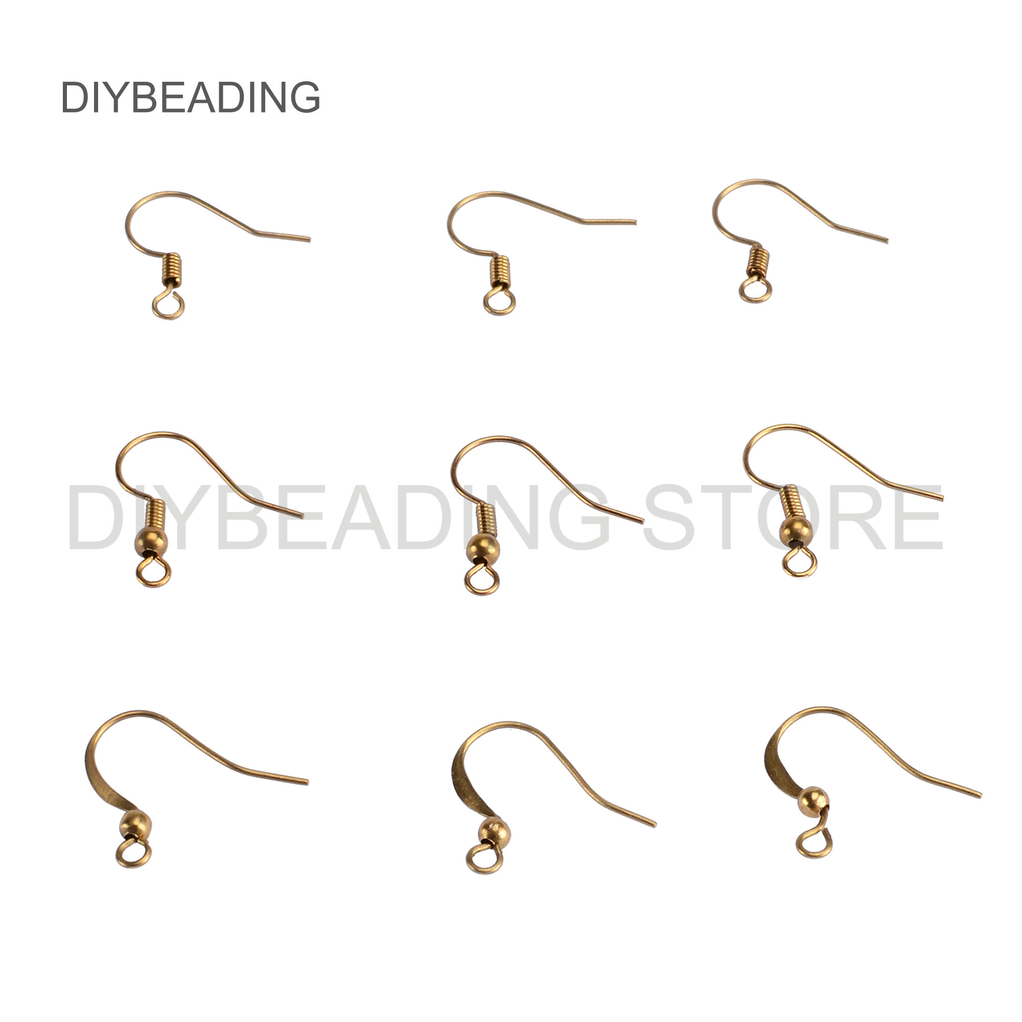 100-500 Pcs Brass Earring Hooks Bulk Wholesale Ear Wires With Ball And Coil French Hooks Component Findings For Making  Earrings