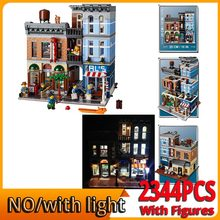 UPS DHL со светильник кой 15011 модель строительного дома наборы блоков Кирпичи игрушки для детей Творческий детектив офис