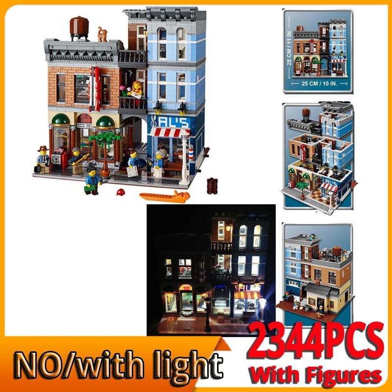 Ups dhl com luz led 15011 criador casa modelo kits de construção tijolos brinquedos para crianças criador detetive escritório