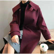 2019 New Women Cashmere Coat High Street Turn-down Collar Single Breasted 3 Colors Female Outwear Coats with Pocket