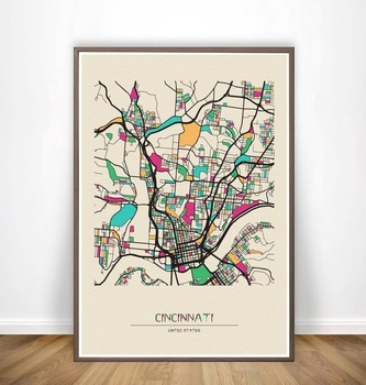 Chola Vista,Cincinnati,Cleveland, Colonia, Colorado Springs,Columbia, póster de mapas de ciudad colorida, lienzo impreso, arte de pared, decoración del hogar