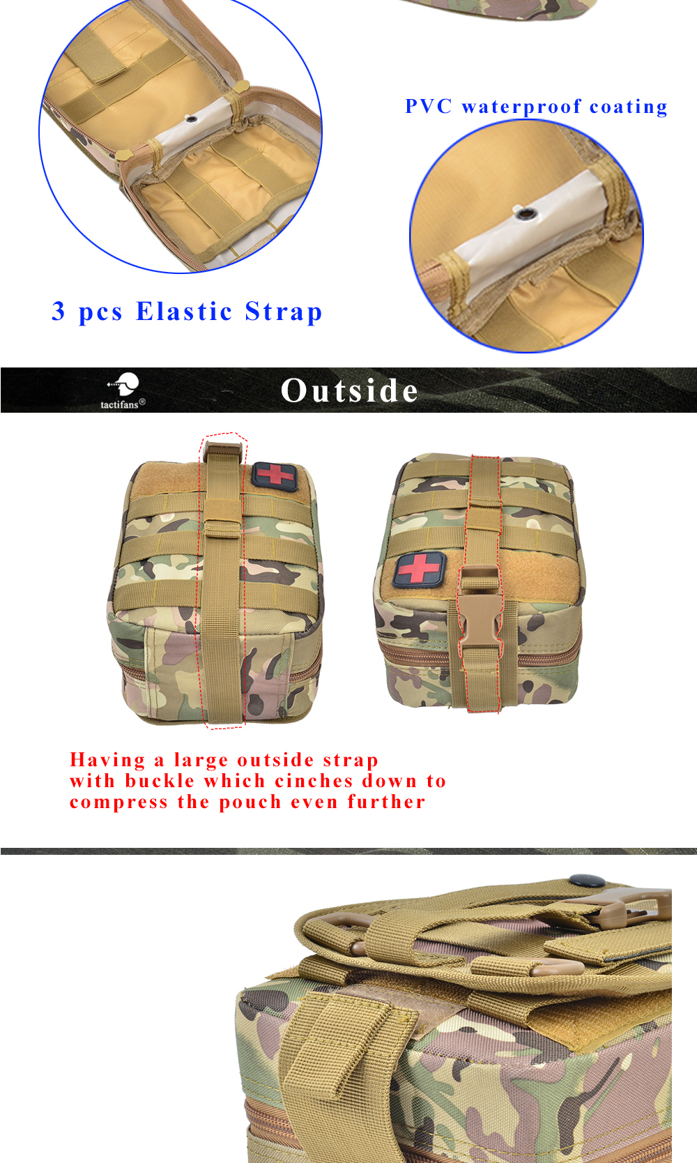 TACTIFANS First Aid Pouch Patch Bag Molle Hook and Loop Amphibious Tactical Medical kit EMT Emergency EDC Rip-Away Survival IFAK