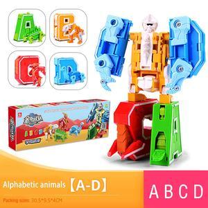 Image 3 - 26 letter A Z Alphabet Animal Dinosaur Warrior Deformation Action Figures Transformation Robot Toys For Children Gift Brinquedos