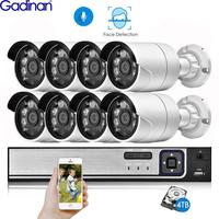 Gadinan 8CH 5MP H.265AI Face Detection HDMI NVR Kit CCTV System 5MP SONY IMX335 Outdoor Audio IP Camera Home Video Security Set