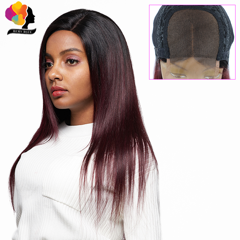 Remyblue 4*4 Lace Closure Wig Straight Human Hair Wigs For Black Women T1B Burg 99J Dark Red Ombre Peruvian Remy Human Hair Wigs