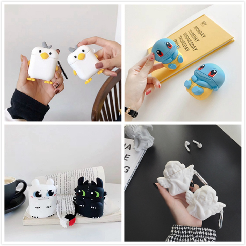 3D Earphone Case For Airpods 2 Case Silicone Duck Cute Cartoon Headphone Case for Apple Air pods Cover For Earpods Accessories
