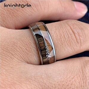 Image 5 - 8/6mm moda carboneto de tungstênio anéis de madeira seta de aço embutidos para homens feminino clássico anel de noivado cúpula banda polido conforto