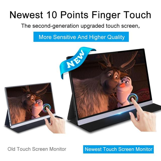 """15.6"""" Touch Screen Portable Monitor IPS screen USB Type C HDMI display for PS4 Switch XBOX Samsung Huawei with Smart Case 1080"""
