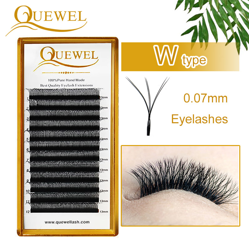 Quewel W Volume Eyelash Extensions C/D Curl Tray W Style Double Tip New Lashes Handmade 0.07mm False Eyelash Soft Popular Thick