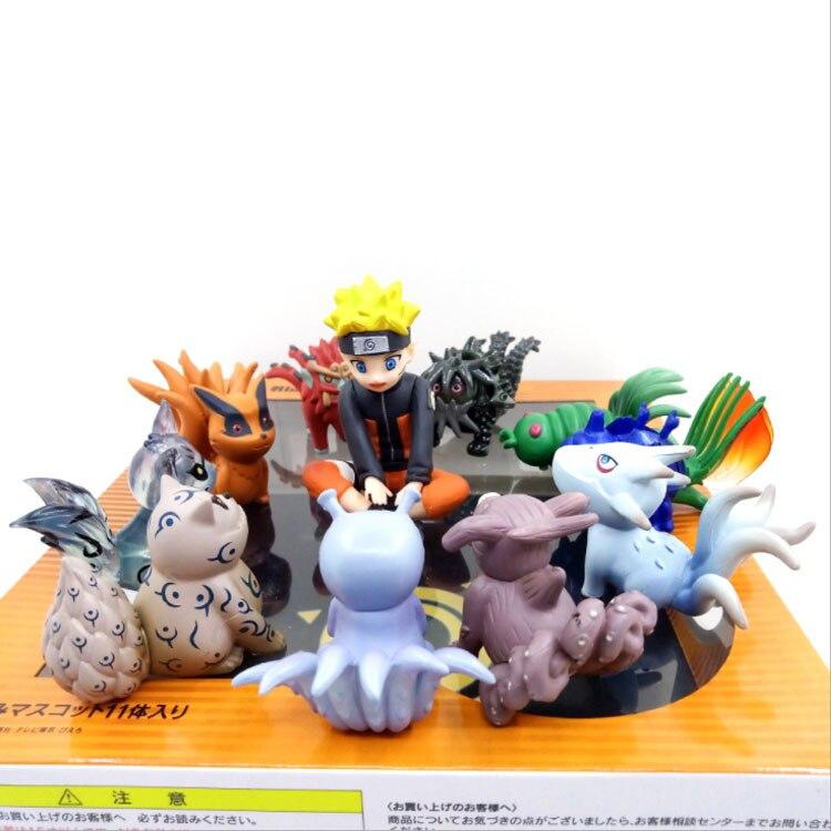 10pcs//set Naruto Shippuden Uzumaki Tailed Beast PVC Figure 7cm Toy New in Box