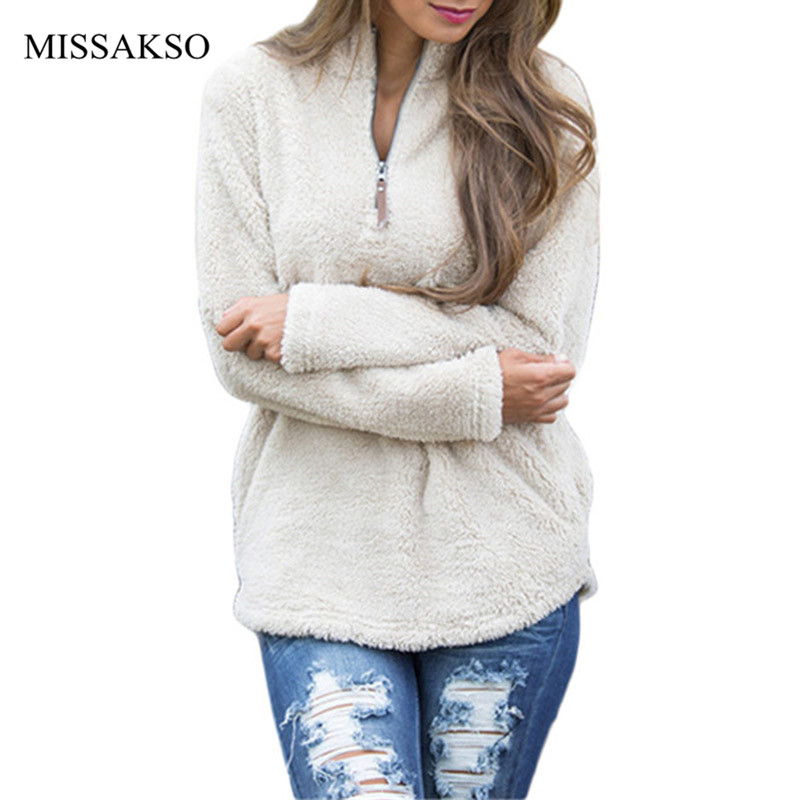 Autumn Winter Women Fleece Shirt Turtleneck Casual Solid Teddy Pullover Plush Fleece Zipper Pocket Sweatshirts Hoodies Mujer