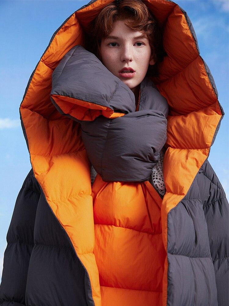 Original Design Women Winter Korean Causal Ultra Loose Thick Warm X-Long White Goose Down Jacket W/H Down Scarf Chamarras Mujer