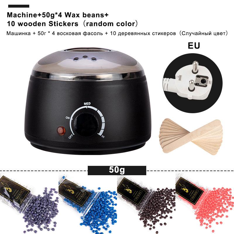 Electric Mini Wax melt Heater  Machine  4 Bags Wax Bean 10 Wood Stickers Hair Removal Machine Waxing Kit Calentador de cera