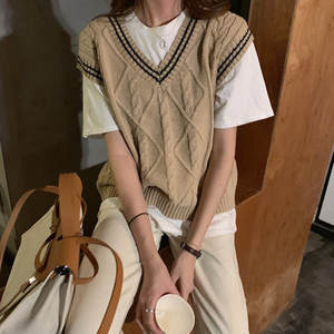 Knitted Sweaters Vest Preppy-Style Korean V-Neck Color-Patchwork 2-Colors C9296