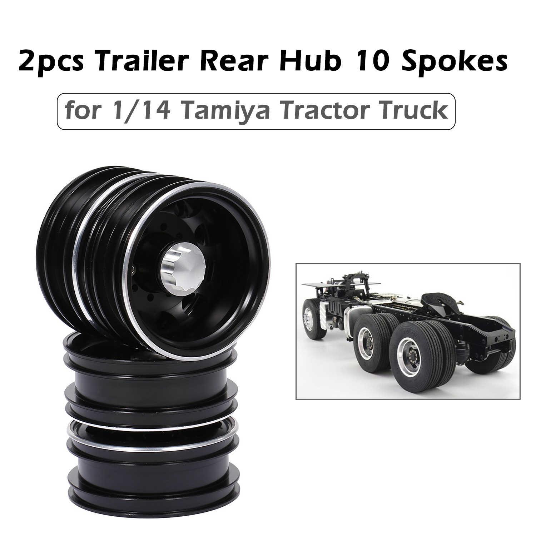 Terbaru 2 Pcs Trailer Belakang Hub Aluminium Alloy Rim 10 Jari-jari untuk 1/14 Tamiya Traktor Truk RC Pendaki Trailer RC bagian