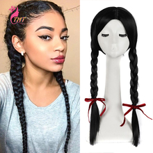 Braided Wigs Black Women Natural-Looking Synthetic Long for Heat-Resistant Double-Box