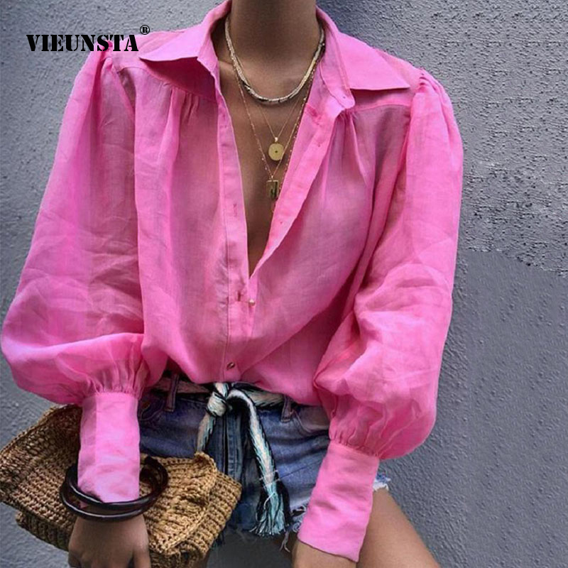 VIEUNSTA Autumn Sexy Deep Notched Collar   Blouse     Shirt   Office lady Lantern Long Sleeve   Blouses   Female Button Loose Tops Blusas XL