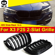 X3 F25 Front Bumper Grille ABS Material Gloss Black Fit For BMW Double Slat Kidney Car styling 14-in