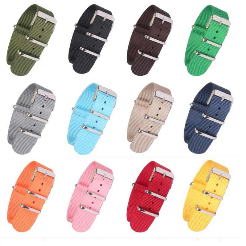 Nieuwe Sterke Effen Kleur horlogeband Horloge Band Roestvrij stalen Gesp stof bruin Rood Zwart Nylon Nato Strap 22mm 18mm 20mm