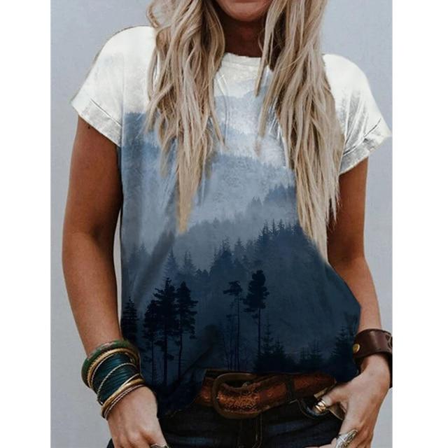 2021 Summer Vintag Print Tops Women Casual Short Sleeve O-neck Plus Size Harajuku Tshirt Female Clothes Tee Shirt Femme T-Shirs 2
